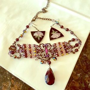 Pretty set with jem choker and inlaid earrings